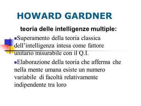 teoria delle intelligenze multiple: