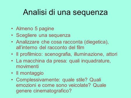 Analisi di una sequenza