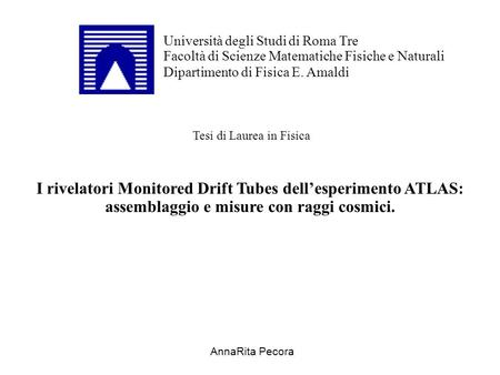 I rivelatori Monitored Drift Tubes dell'esperimento ATLAS: