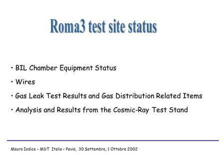BIL Chamber Equipment Status Wires Gas Leak Test Results and Gas Distribution Related Items Analysis and Results from the Cosmic-Ray Test Stand Mauro Iodice.
