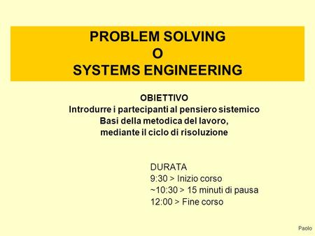 PROBLEM SOLVING O SYSTEMS ENGINEERING