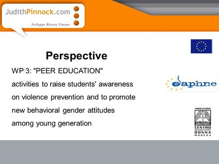 Perspective WP 3: PEER EDUCATION activities to raise students' awareness on violence prevention and to promote new behavioral gender attitudes among.