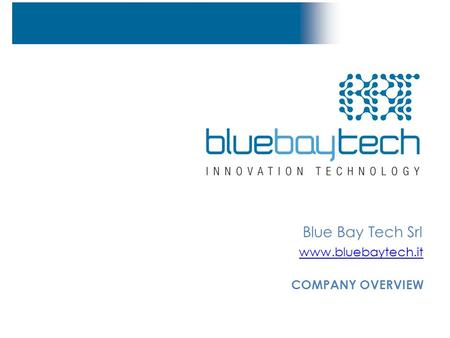 Blue Bay Tech Srl www.bluebaytech.it COMPANY OVERVIEW.