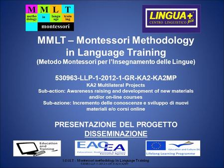 MMLT – Montessori Methodology in Language Training (Metodo Montessori per lInsegnamento delle Lingue) 530963-LLP-1-2012-1-GR-KA2-KA2MP KA2 Multilateral.