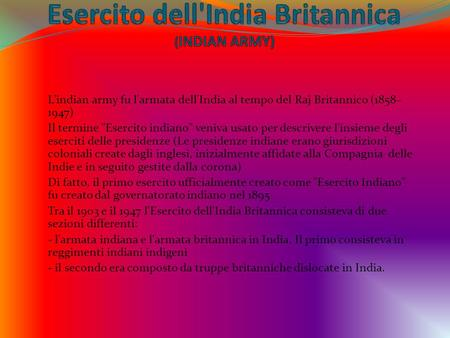 Esercito dell'India Britannica (INDIAN ARMY)