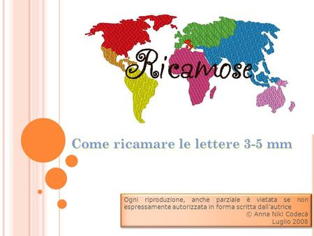 Come ricamare le lettere 3-5 mm