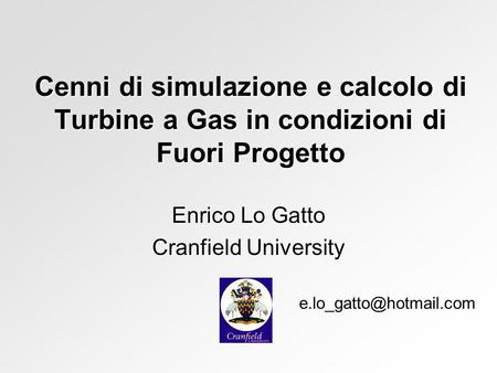 Enrico Lo Gatto Cranfield University