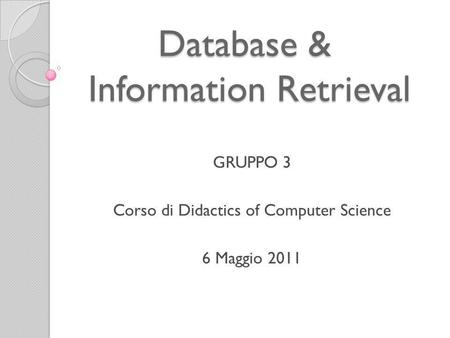 Database & Information Retrieval