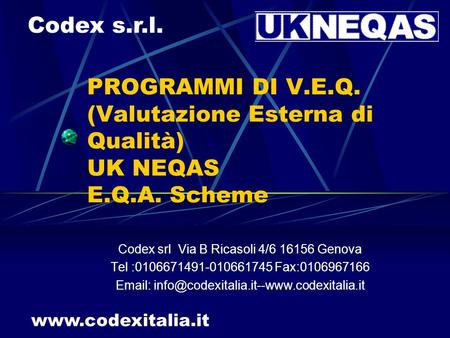 Codex srl Via B Ricasoli 4/ Genova