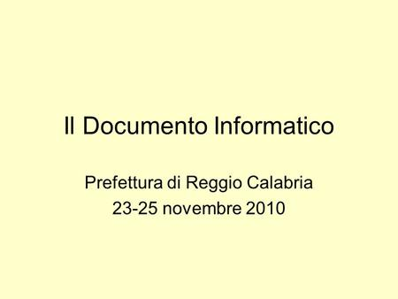 Il Documento Informatico