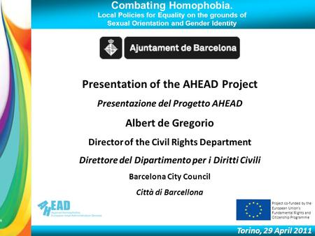 Combating Homophobia. Local Policies for Equality on the grounds of Sexual Orientation and Gender Identity Torino, 29 April 2011 Presentation of the AHEAD.