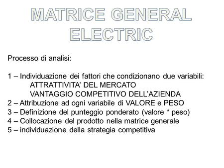 MATRICE GENERAL ELECTRIC