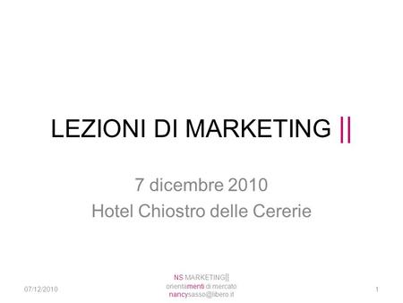 LEZIONI DI MARKETING ||