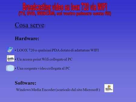 Cosa serve : Hardware: LOOX 720 o qualsiasi PDA dotato di adattatore WIFI Un access point Wifi collegato al PC Una sorgente video collegata al PC Software: