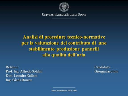 Analisi di procedure tecnico-normative