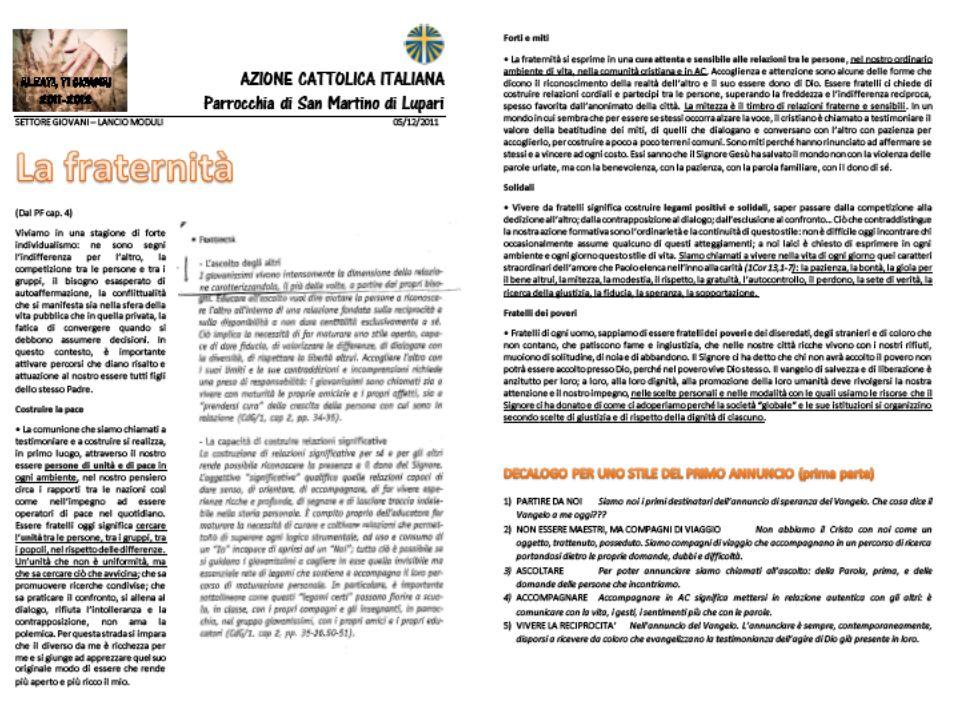 2 PARTE Modulo FRATERNITÀ TRACCIAMO OBIETTIVI COMUNI DON MICHELE - ASSISTENTE