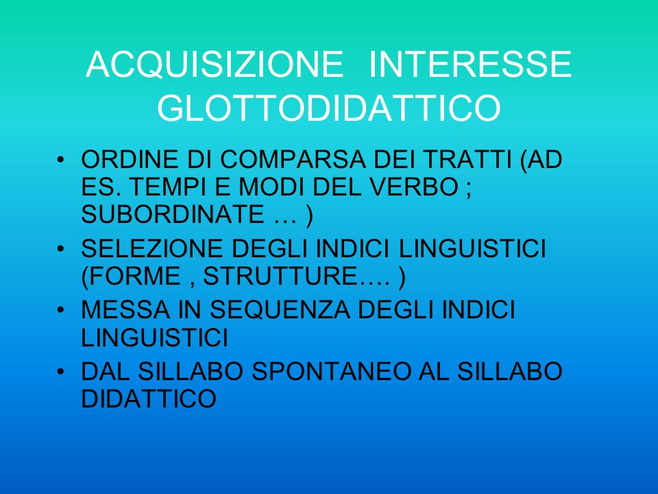 DIVERSE ETA E DIFFERENTI ORDINI DI SCUOLA I PIU PICCOLI ACQUISIZIONE SPONTANEA,APPROCCIO LUDICO FATTORE TEMPO PARLARE COME NATIVI(FONOLOGIA) ITALIANO L2 : LINGUA ADOTTIVA LATTENZIONE ALLA L2 NELLA SCUOLA DELLINFANZIA OSSERVARE : LESSICO, STRUTTURE LINGUISTICHE, CAPACITA DI DESCRIVERE, NARRARE..