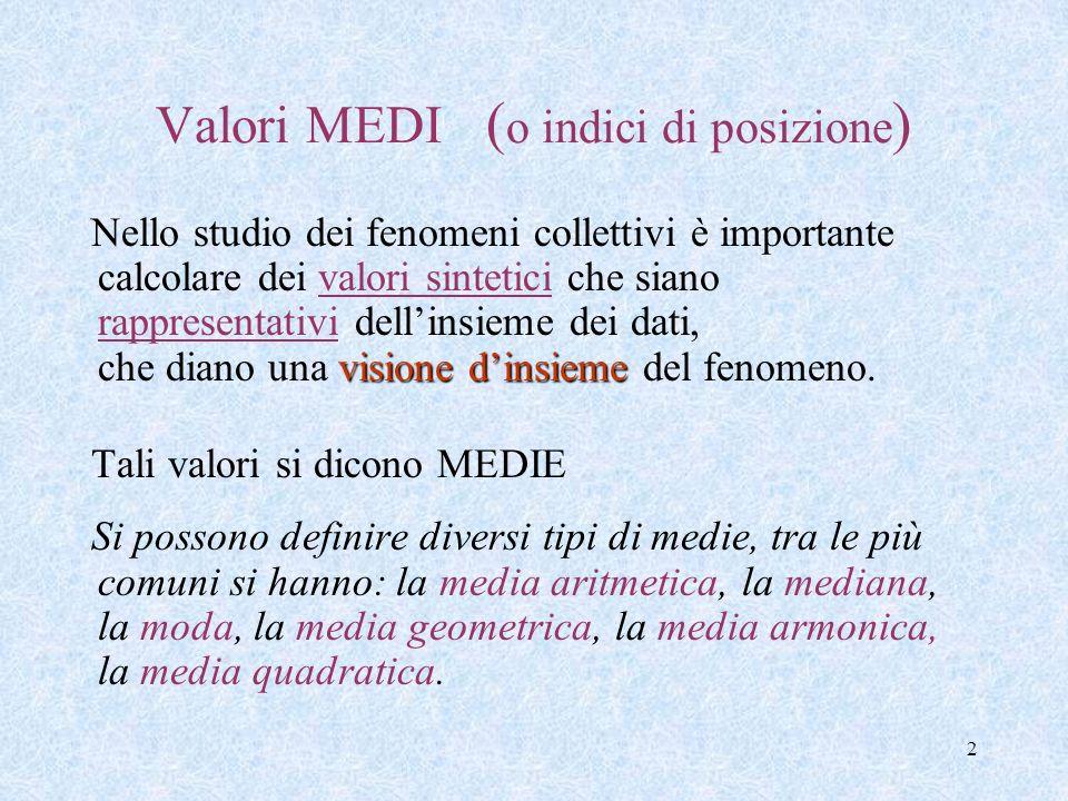 2 Valori MEDI ( o indici di posizione ) visione dinsieme Nello studio dei fenomeni collettivi è importante calcolare dei valori sintetici che siano rappresentativi dellinsieme dei dati, che diano una visione dinsieme del fenomeno.