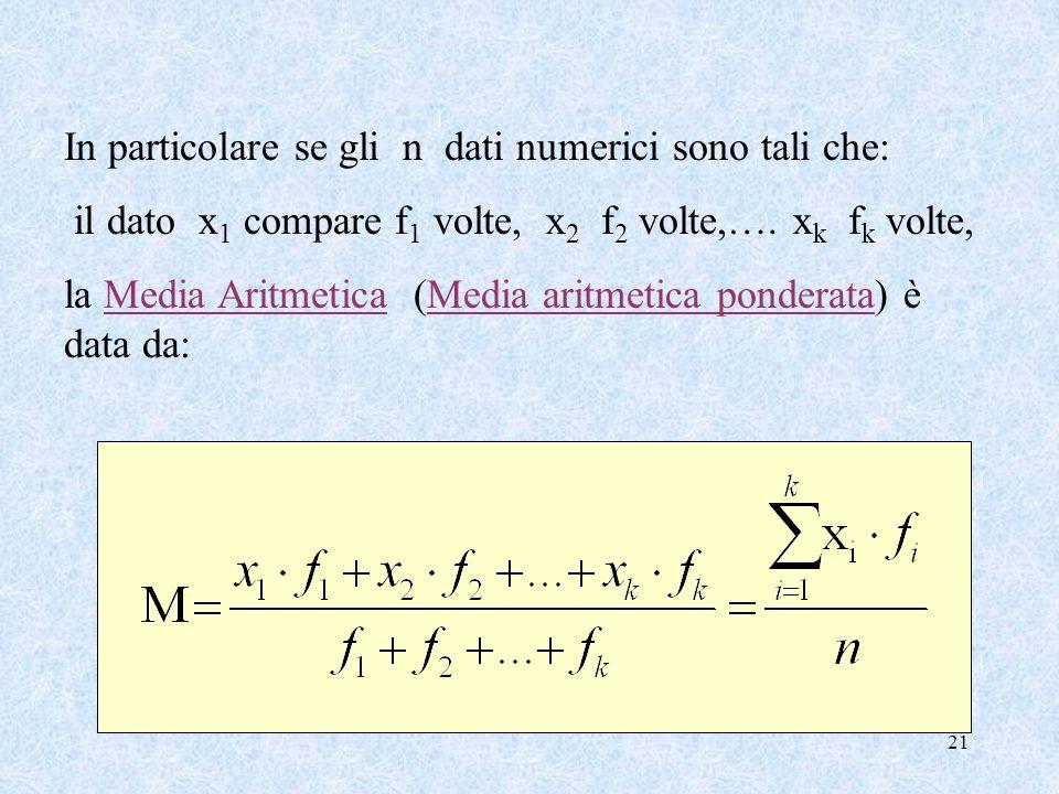 21 In particolare se gli n dati numerici sono tali che: il dato x 1 compare f 1 volte, x 2 f 2 volte,….