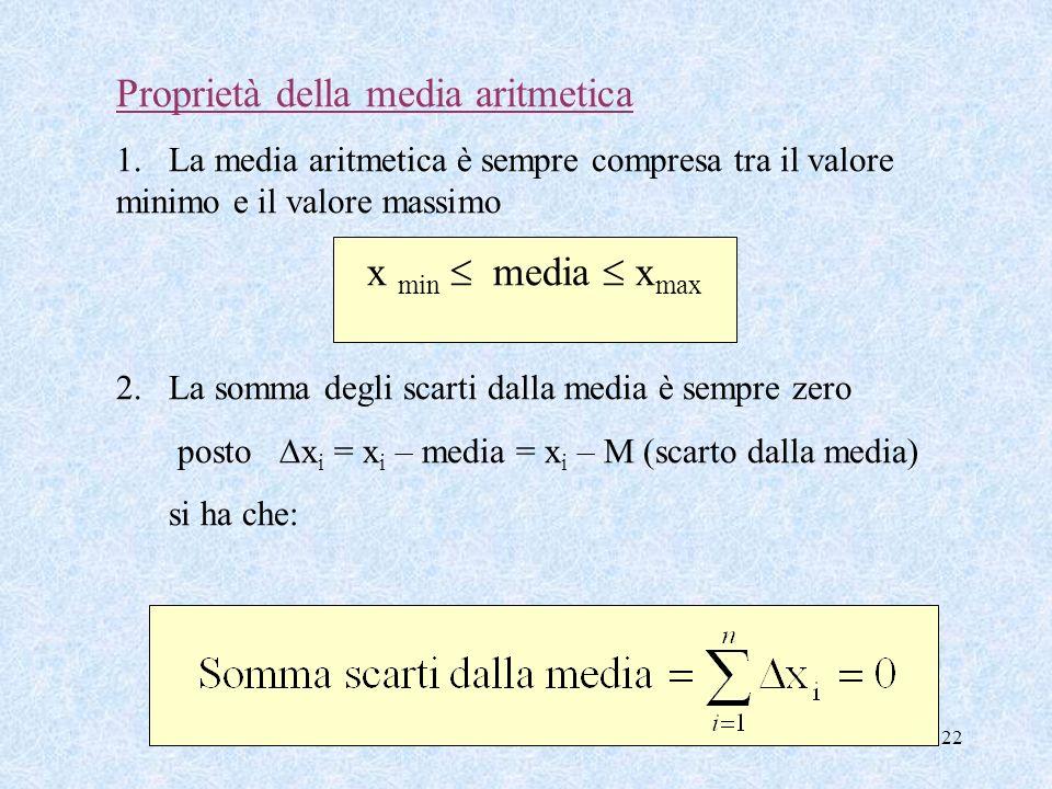 22 Proprietà della media aritmetica 1.