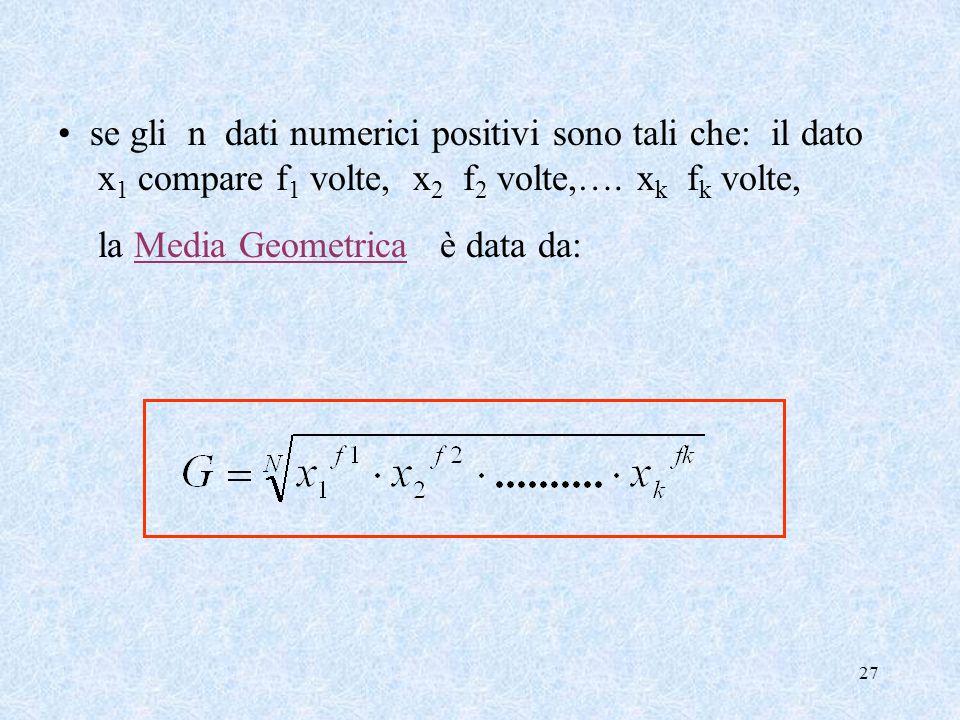 27 se gli n dati numerici positivi sono tali che: il dato x 1 compare f 1 volte, x 2 f 2 volte,….