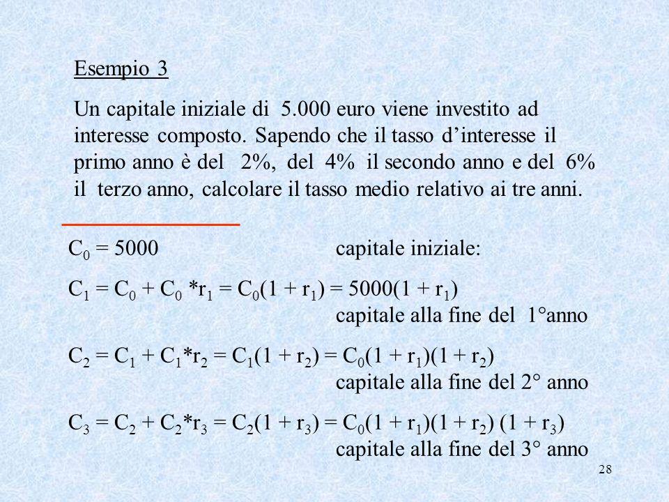 28 Esempio 3 Un capitale iniziale di 5.000 euro viene investito ad interesse composto.