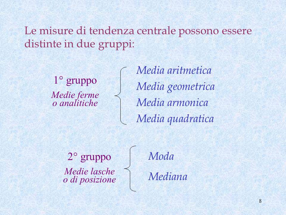 8 Le misure di tendenza centrale possono essere distinte in due gruppi: Media aritmetica Media geometrica Media armonica Media quadratica 2° gruppo Medie lasche o di posizione Moda Mediana 1° gruppo Medie ferme o analitiche