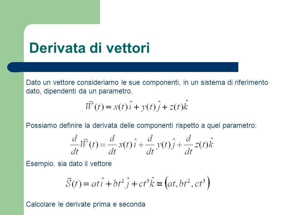 Svolgimento Possiamo calcolare la derivata rispetto al parametro t: E allo stesso modo procedere per calcolare la derivata seconda: Altro esempio, consideriamo il seguente vettore spostamento (deve avere le dimensioni di una lunghezza): con :