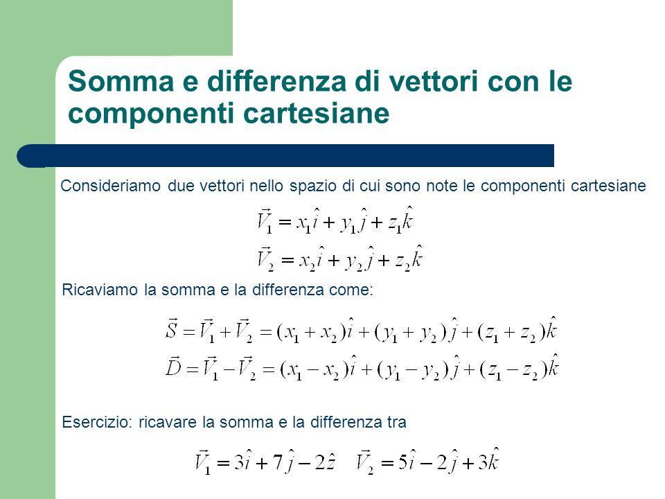 Prodotto scalare Il prodotto scalare associa a due vettori un numero reale V1V1 θ V2V2 O Se sono date le componenti cartesiane si calcola come Notiamo che il prodotto scalare vale zero se i due vettori sono ortogonali ovvero se cos θ =0.