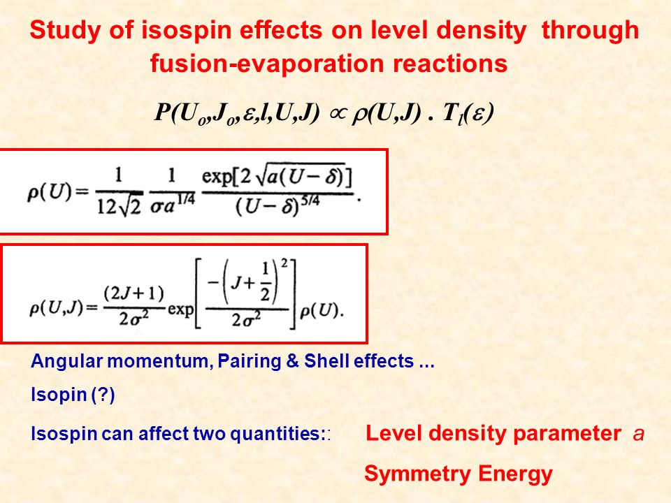 Effects on level density parameter a Best fit: 241 nuclei E x up to 7 MeV 20<A<110 ENSDF Form A: Form B: Form C: Strong implications in nuclear astrophysics N-Z Strong support from recent LD calculations Z-Zo dependence: better reproduction of data