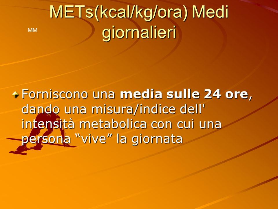 Valori di riferimento Tipo di soggetto METs Medi giornalieri METs Medi giornalieri Sovrappeso/obeso 0.8 – 1.0 Sedentario/inattivo 1.2 – 1.3 Normale 1.4 – 1.6 Attivo o atleta > 1.7