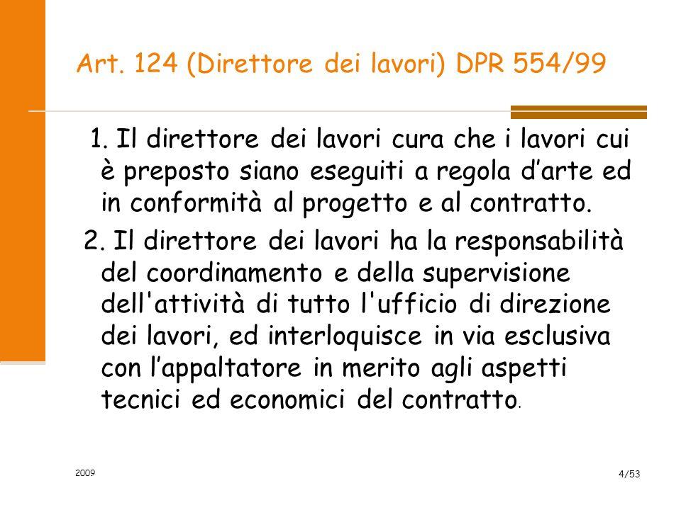 Art.124 (Direttore dei lavori) DPR 554/99 3.