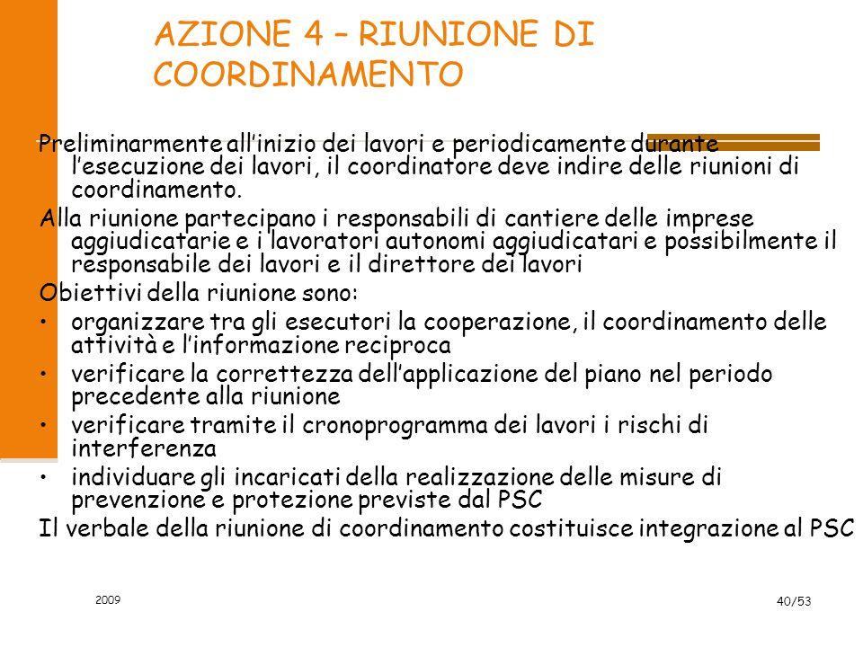 4 a AZIONE AttivitàFigureDocumenti di riferimento Documenti prodotti Convocazione della riunione - Coordinatore esecuzione - Nessuno - Lett.