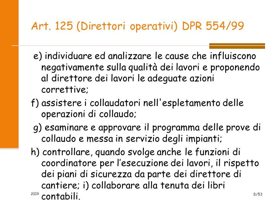 Art.126 (Ispettori di cantiere) DPR 554/99 1.