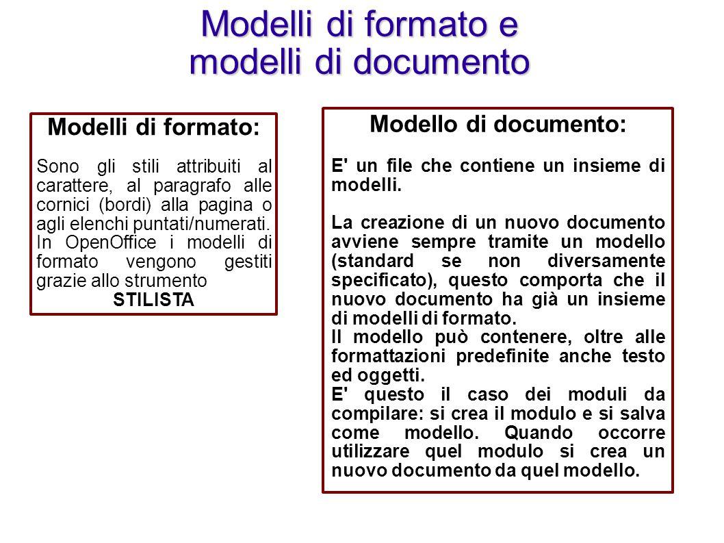 Modelli di cornice Modelli di carattere Modelli di paragrafo Lo strumento stilista Modelli di pagina Modelli di elenchi Lo strumento STILISTA Permette di gestire modelli di formato (creare, modificare, applicare, aggiungere o rimuovere modelli).