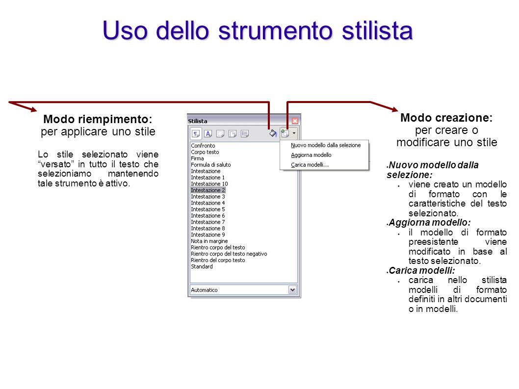 Modifica di un modello di formato Sul modello di formato desiderato: Attivare il menu contestuale con il tasto destro Selezionare Modifica