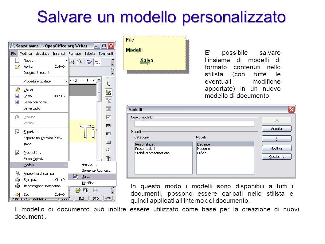 Il modello può essere salvato anche tramite salva con nome, specificando che il file è di tipo modello.