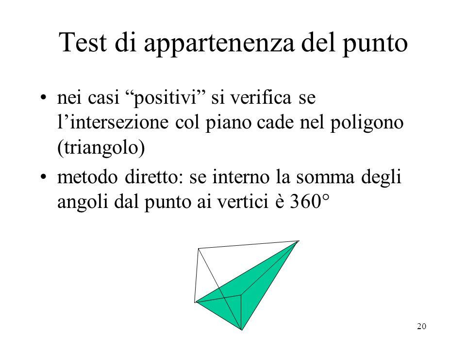 21 il metodo diretto è costoso, se il punto è su un bordo dà errore, non si può valutare se il poligono è orientato back face rispetto alla direzione del raggio (può interessare solo la prima intersezione con un poliedro) algoritmo di Haines: (inizializza t near come minimo valore negativo e t far come massimo positivo) if piano-è-back-face and (t<t far ) then t far =t if (piano-è-front-face) and (t>t near ) then t near =t if (t near >t far ) then exit (raggio non interseca)