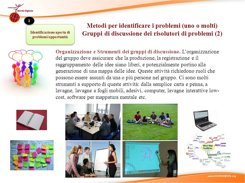 Consultazione di esperti: viene usata quando i risolutori di problemi decidono che hanno bisogno di informazioni e conoscenze supplementari per identificare problemi rilevanti nella comunità.