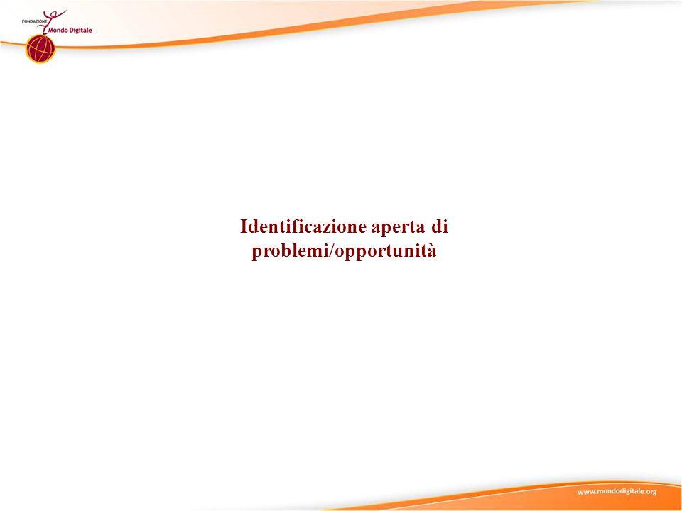 Identificazione aperta di problemi/opportunità 1 1 L'identificazione aperta di problemi/opportunità è il processo di ricerca e identificazione di uno o più problemi/opportunità da affrontare.