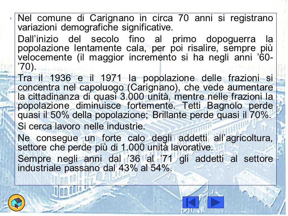 Popolazione di Carignano e attività economiche Anno 1936 Anno 1951 Anno 1961 Anno 1971 Abitanti7392778880089353 Popolazio ne attiva 3098398737303763 Addetti agricoltura 16751321934639 Addetti industria 1681189119122075