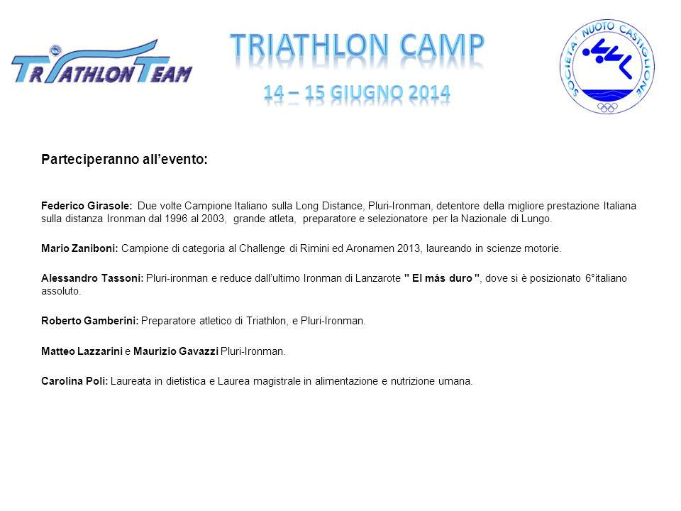 Info e iscrizioni Info programma Camp: www.societànuoto.it e pagina FB Società Nuoto Castiglione Triathlon Team Iscrizioni: Roberto Gamberini Cell.