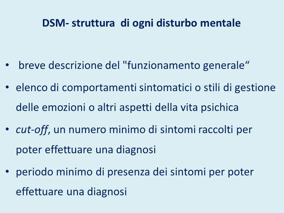 DSM-IV/V - uso -attività clinica e di ricerca per psichiatri, medici e psicologi -riferimento diagnostico nella psicoterapia non legata alla psichiatria e alla medicina -costruzione di test psicologici -valutazione dell idoneità alla professione degli psicologi -Procedure assicurative sulla salute