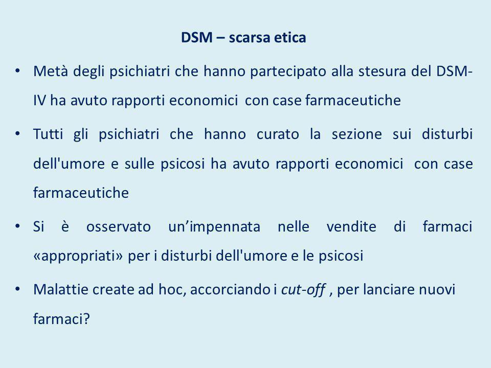 DSM – critiche L uso meccanico del DSM snatura il giudizio clinico , indispensabile in un campo basato sul rapporto interpersonale.