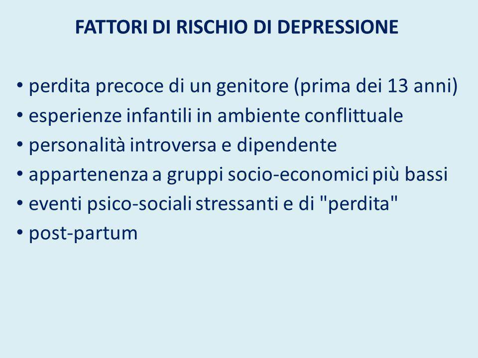 Sintomi della depressione Diminuzione del tono dell umore: tristezza, disperazione, perdita di speranza.