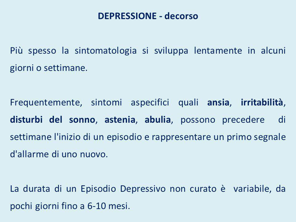 Depressione - prognosi Nel 70% dei casi vi è una remissione completa con recupero del funzionamento sociale e lavorativo.