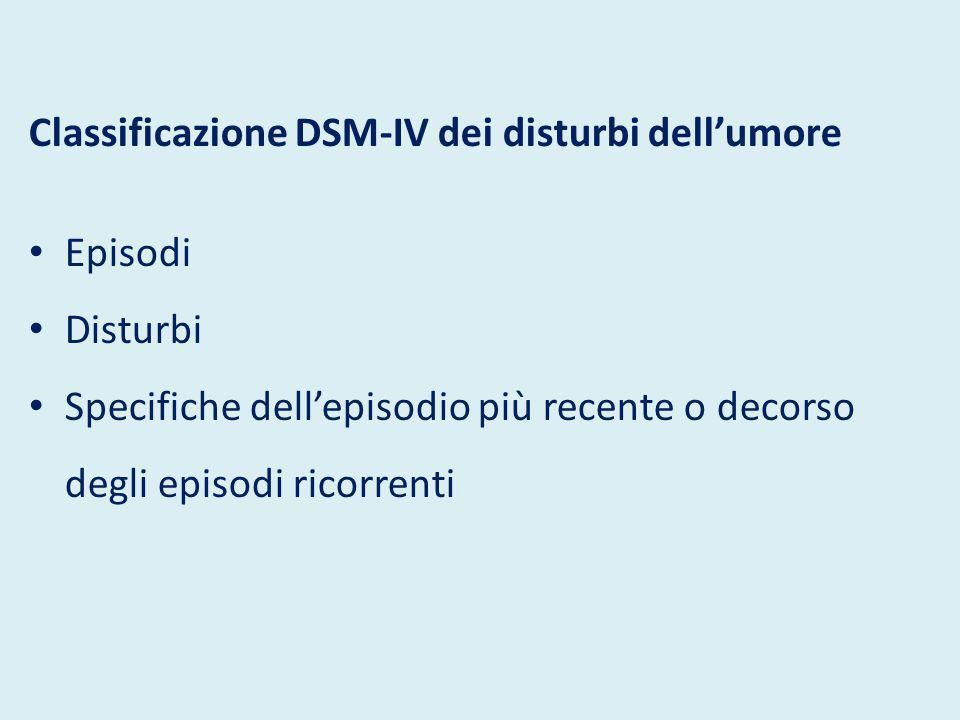 Classificazione DSM-IV dei disturbi dell'umore Episodi di alterazione dell'umore Depressivo maggiore Maniacale Misto ipomaniacale