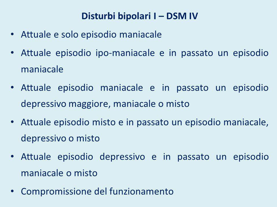 Disturbi bipolari II – DSM IV Uno o più episodi depressivi maggiori accompagnati da almeno un episodio ipo- maniacale e nessun episodio maniacale o misto Compromissione del funzionamento Specifiche dell'attuale episodio, della gravità, del tipo di manifestazioni, del decorso