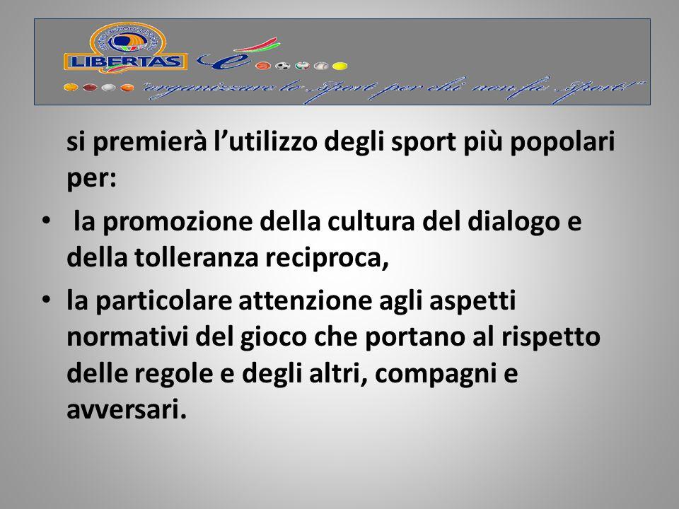 Azioni Livello nazionale Realizzazione del progetto Libertas è …… lo sport che unisce.