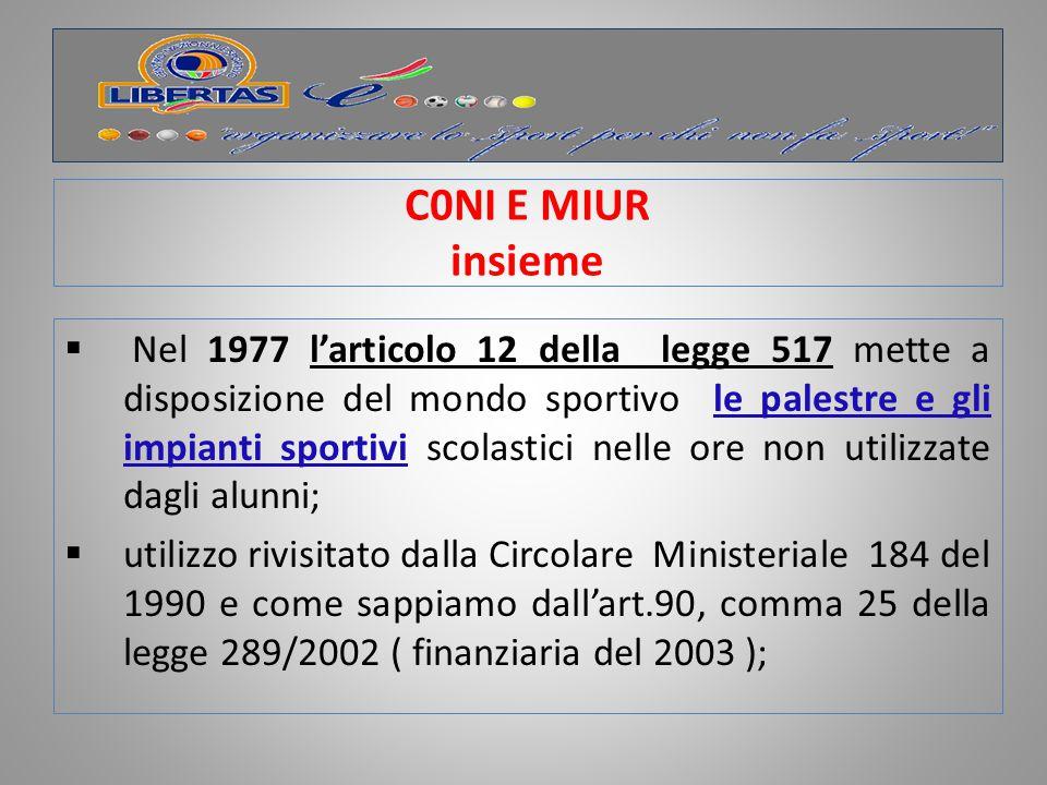 C0NI E MIUR insieme Nel 1980 un Primo Protocollo d'Intesa; Nel 1983 l'istituzione dei Campionati Sportivi Studenteschi.